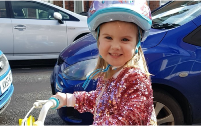 Martha age five and diagnosed with Perthes cycles for Steps!
