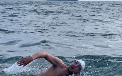 Kieran swimming the English Channel!